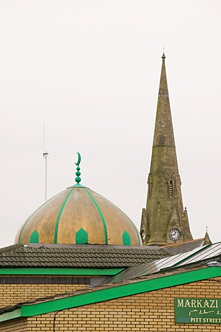 A church and mosque in Oldham, Lancashire, England, United Kingdom, Europe